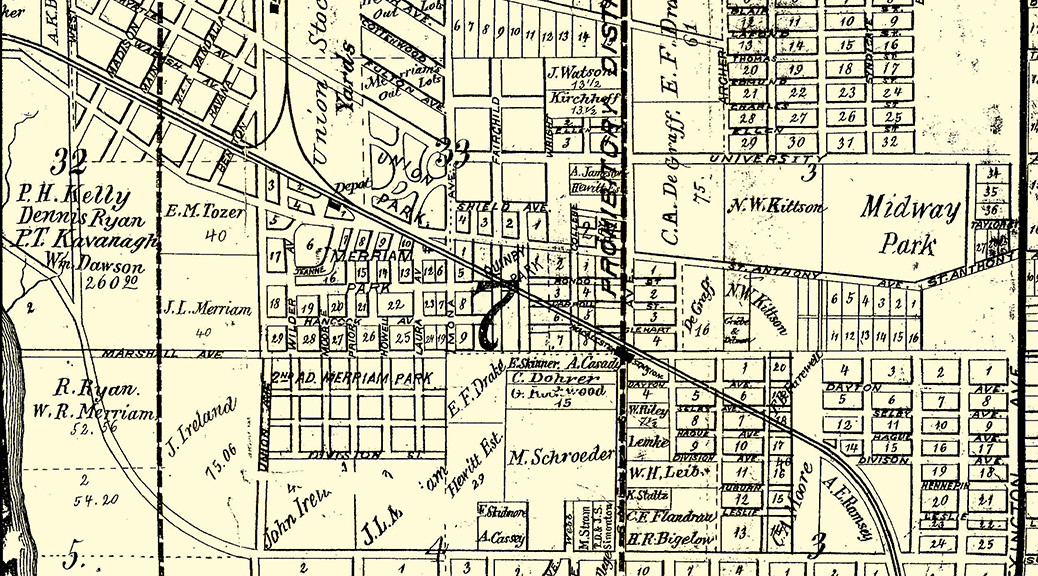 Vintage Map of Hamline Midway area in St. Paul, MN