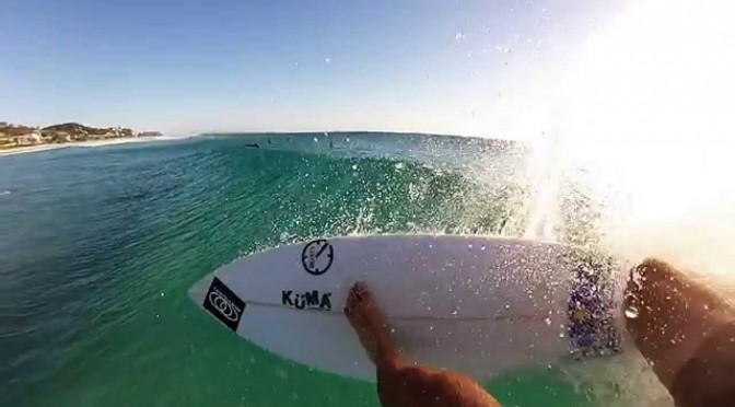 ocean through surfer first person point of view